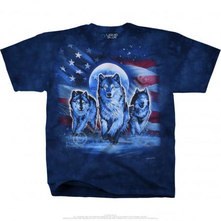 Americana Patriotic Wolf Pack Tie-Dye T-Shirt Liquid Blue