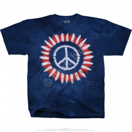 Americana Peace Concentric Tie-Dye T-Shirt Liquid Blue