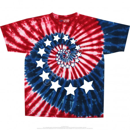 Americana Stars And Stripes Spiral Tie-Dye T-Shirt Liquid Blue