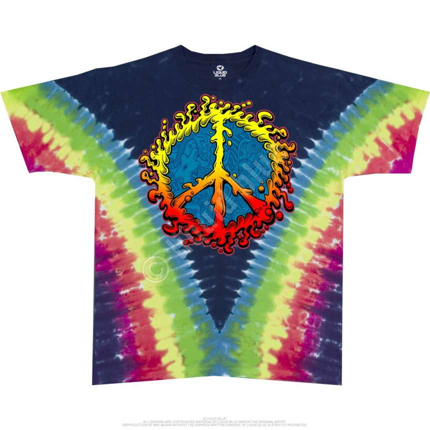 ccaac71b Americana Peace Amoeba Tie-Dye T-Shirt Liquid Blue - clothingmonster.com