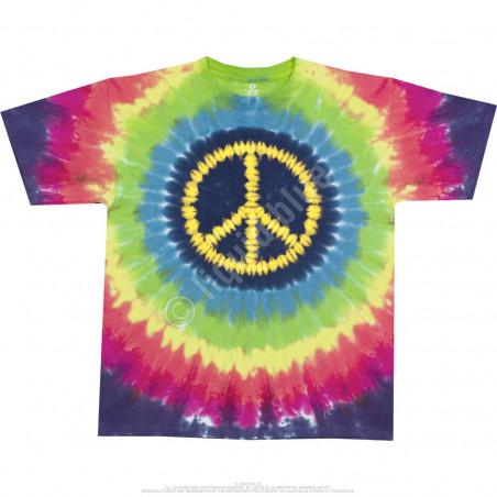 Americana Hippie Peace Tie-Dye T-Shirt Liquid Blue