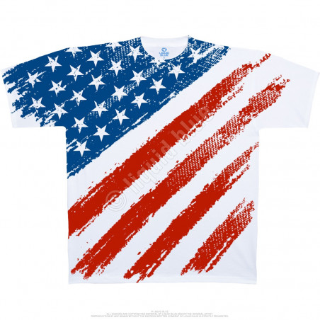 Americana Star Spangled Banner White T-Shirt Liquid Blue