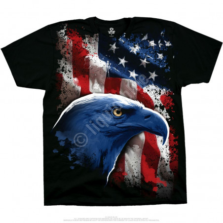 American Icon Black T-Shirt Liquid Blue