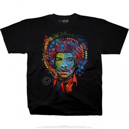 Jimi Hendrix Hendrix Groove Black Athletic T-Shirt Liquid Blue