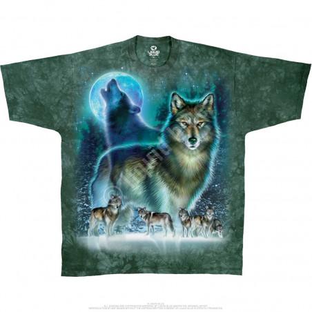 American Wildlife Wolf Moon Tie-Dye T-Shirt