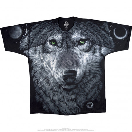 American Wildlife Arctic Wolf Black T-Shirt Liquid Blue