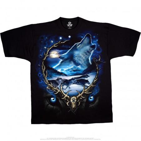 American Wildlife Wolf Run Black T-Shirt Liquid Blue