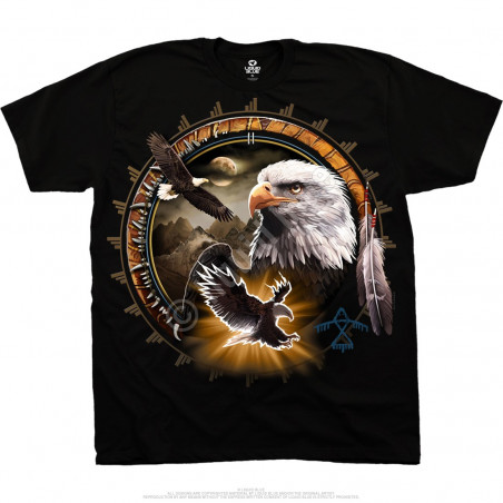 American Wildlife Eagle Dreamcatcher Black T-Shirt Liquid Blue