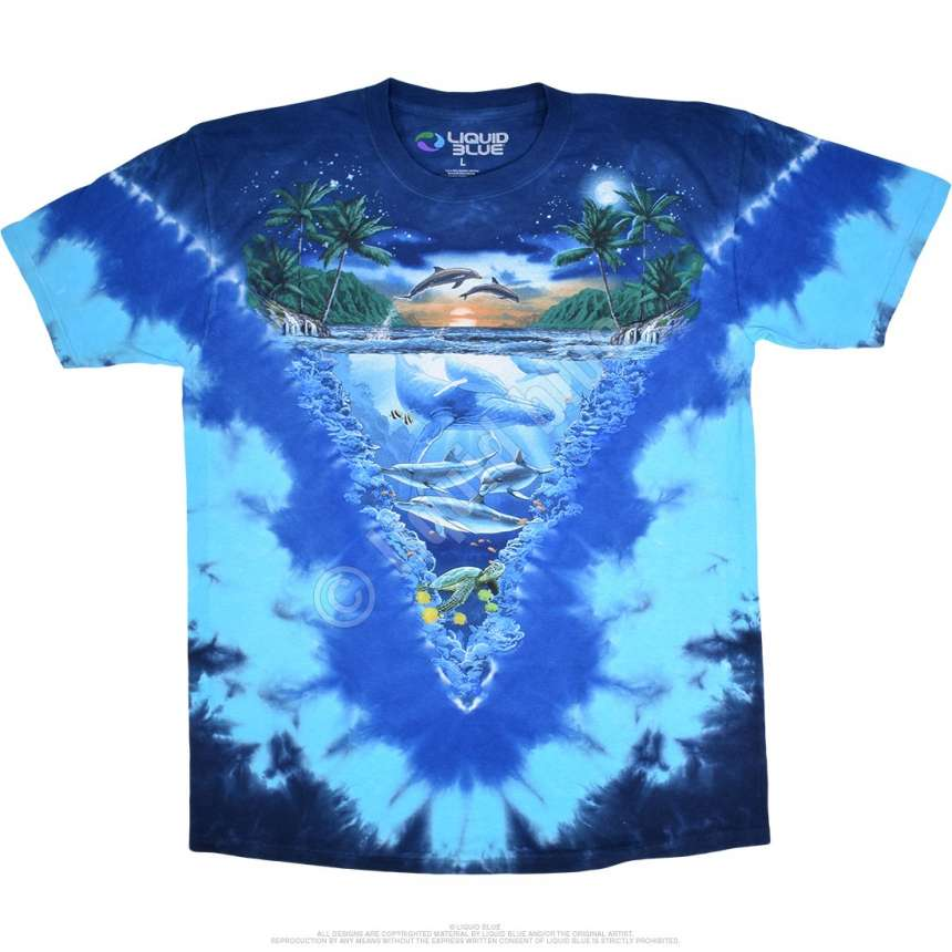 Aquatic Night Time Dive Tie Dye T Shirt Liquid Blue