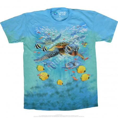 Aquatic Sea Turtles Tie-Dye T-Shirt Liquid Blue