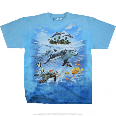 Aquatic Dolphin Domain Tie-Dye T-Shirt Liquid Blue