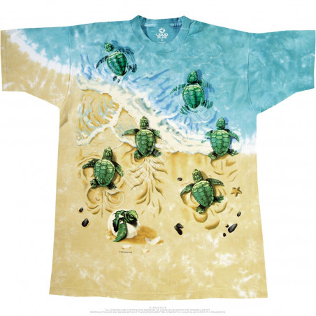 Aquatic Turtle Beach Tie-Dye T-Shirt Liquid Blue