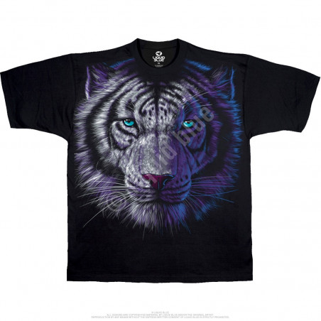 Exotic Wildlife White Tiger Black T-Shirt Liquid Blue