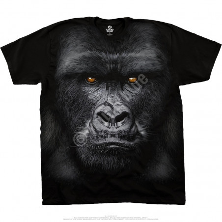 Exotic Wildlife Majestic Gorilla Black Athletic T-Shirt Liquid Blue