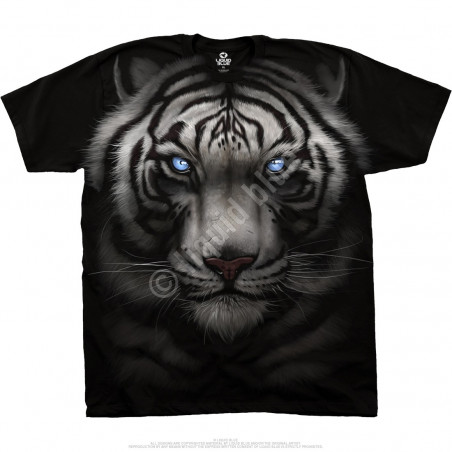 Exotic Wildlife Majestic White Tiger Black Athletic T-Shirt Liquid Blue