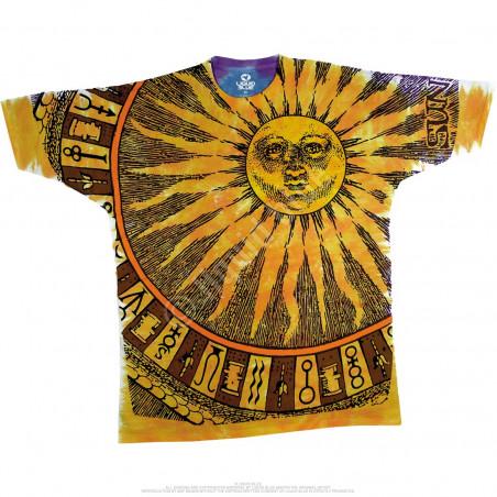 Space Sun Moon Tie-Dye T-Shirt Liquid Blue