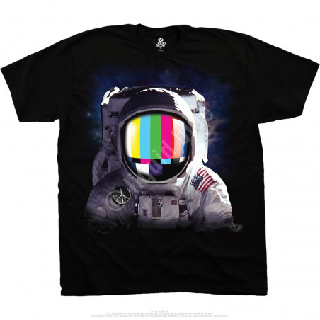 Space Station Black T-Shirt Liquid Blue