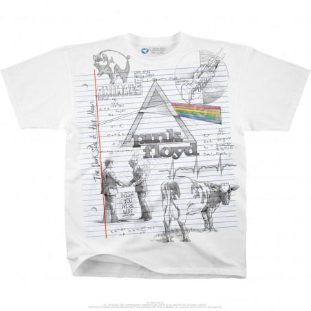 Pink Floyd Sketch White T-Shirt Liquid Blue