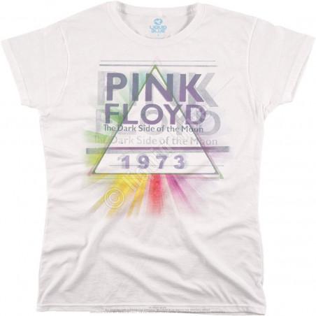 Liquid Blue Pink Floyd Dark Side Mist White Womens Long Length T-Shirt