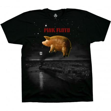 Pink Floyd Pigs Over London Black T-Shirt Liquid Blue