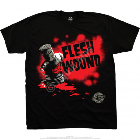 Monty Python Flesh Wound Black T-Shirt Liquid Blue