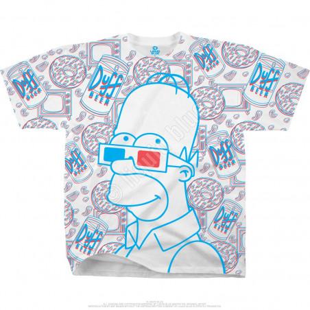 Liquid Blue The Simpsons 3D Homer White T-Shirt