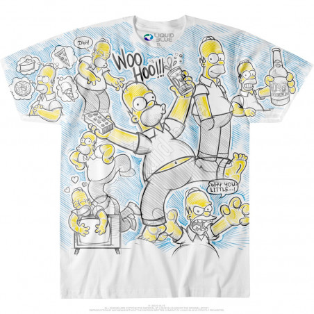 Liquid Blue The Simpsons Homer Time White T-Shirt