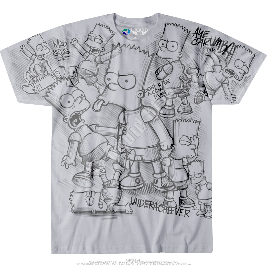 e60c70cb917 The Simpsons Bart Sketch Grey T-Shirt Liquid Blue - clothingmonster ...