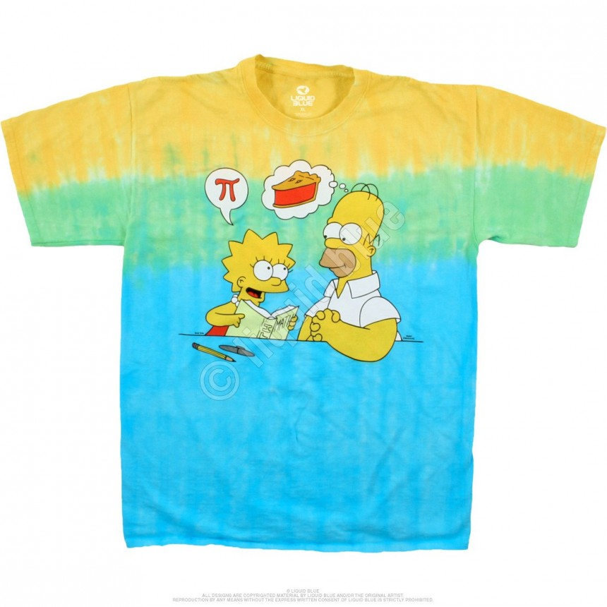 the simpsons mmm pi tie dye t shirt liquid blue. Black Bedroom Furniture Sets. Home Design Ideas