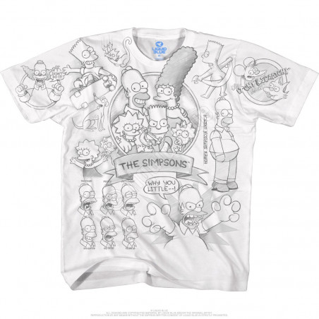 Liquid Blue The Simpsons Simpsons Sketch White T-Shirt