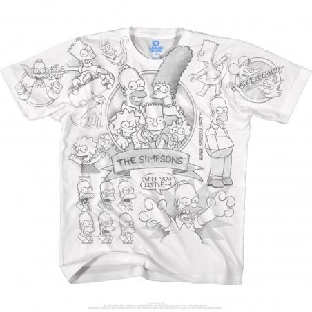 The Simpsons Sketch White T-Shirt Liquid Blue