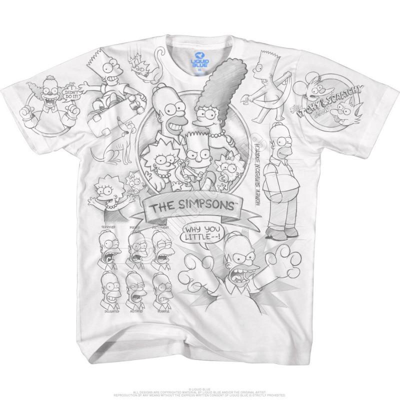 Liquid Blue The Simpsons Simpsons Sketch White T-Shirt