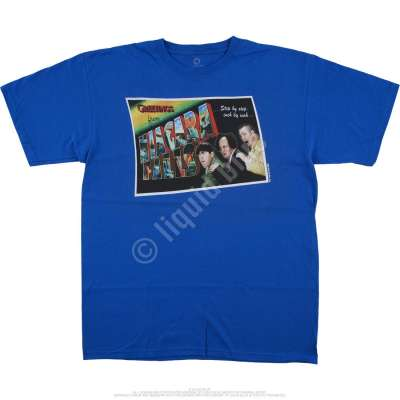 Liquid Blue Three Stooges Greetings From The Stooges Blue T-Shirt