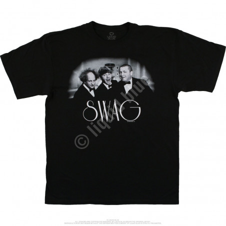 Liquid Blue Three Stooges Swag Black T-Shirt