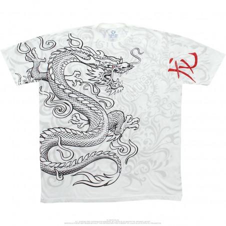 Liquid Blue Asian Art White Dragon White Athletic T-Shirt