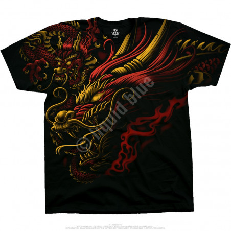 Liquid Blue Asian Art Imperial Power Black T-Shirt