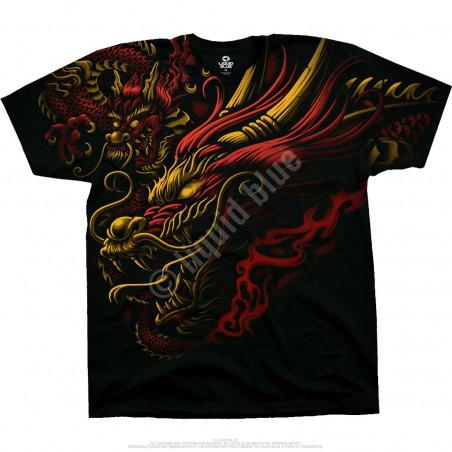Liquid Blue Asian Art Imperial Power Black T-Shirt