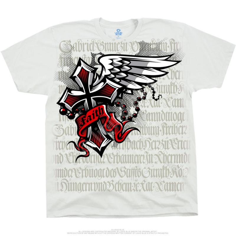 Liquid Blue Latin Art Faith White T-Shirt