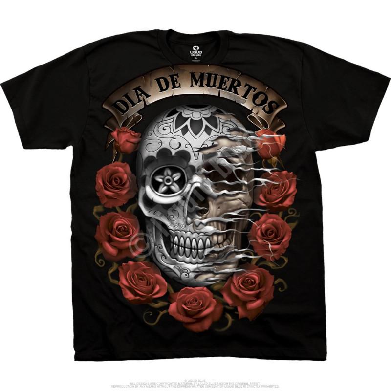 Liquid Blue Latin Art Dia De Muertos Skull Black T-Shirt