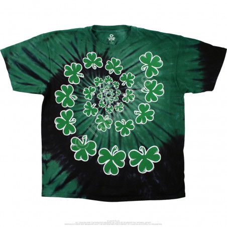 Liquid Blue St. Patricks Day Shamrock Spiral Tie-Dye T-Shirt