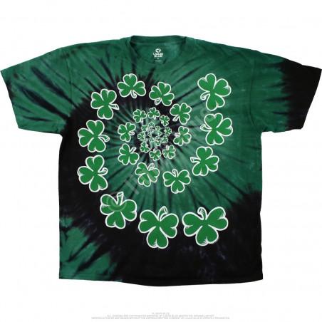 Liquid Blue St. Patricks Day Shamrock Spiral Tie-Dye T-Shirt
