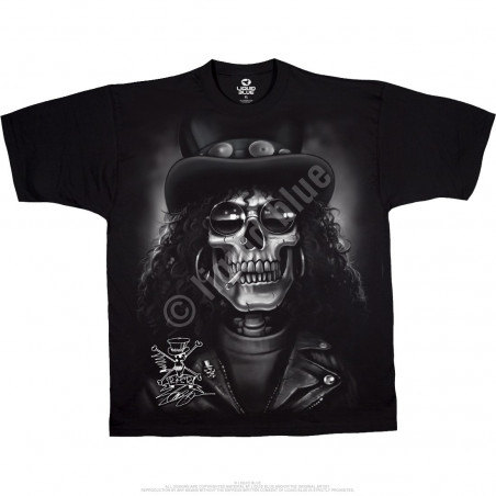 Liquid Blue Slash Slash Skull Black T-Shirt